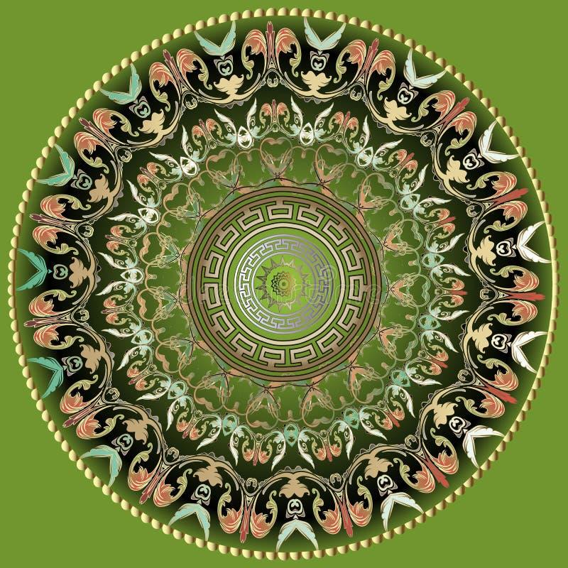 Grieks vector kleurrijk rond mandalapatroon Sierachtergrond met bloemen Barokke ornamenten Geometrische vormen, cirkels, golven vector illustratie