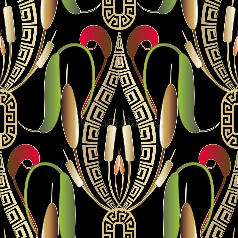 Grieks vector naadloos patroon Kleurrijke sier bloemenachtergrond vector illustratie