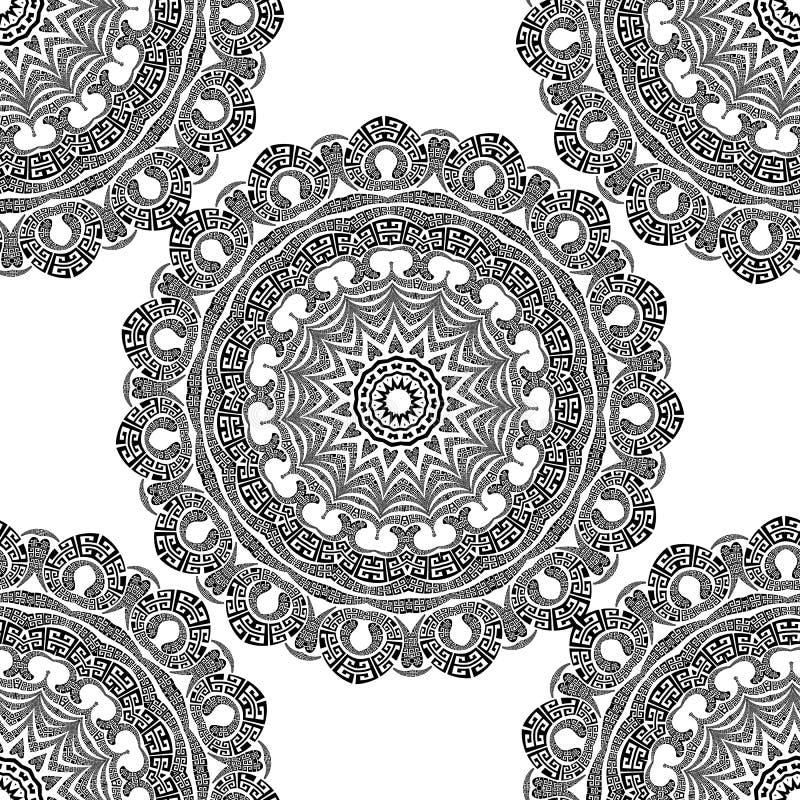 Grieks vector zwart-wit naadloos mandalapatroon Sierachtergrond met de bloemen van Paisley Geometrische vormen, cirkels royalty-vrije illustratie