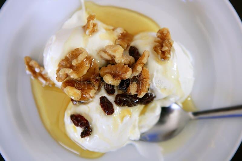 Grieks yoghurtdessert met honing en okkernoten royalty-vrije stock afbeeldingen
