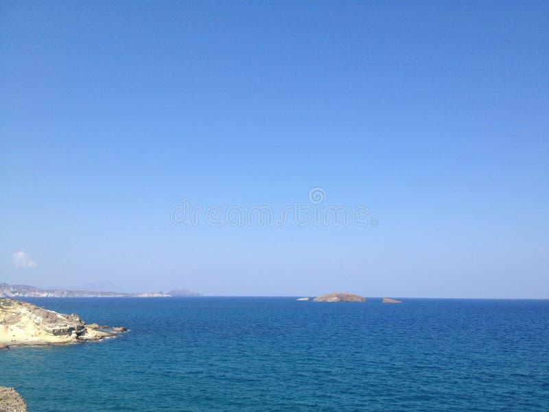 Grieks zeegezicht stock foto's