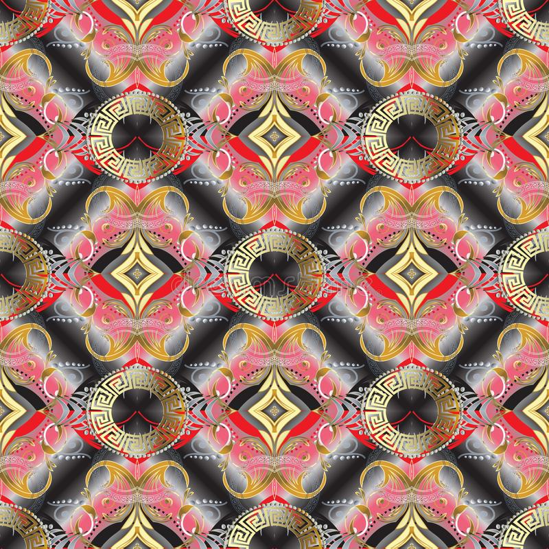 Grieks zeer belangrijk bloemen 3d naadloos patroon Toled vectorachtergrond wa royalty-vrije illustratie