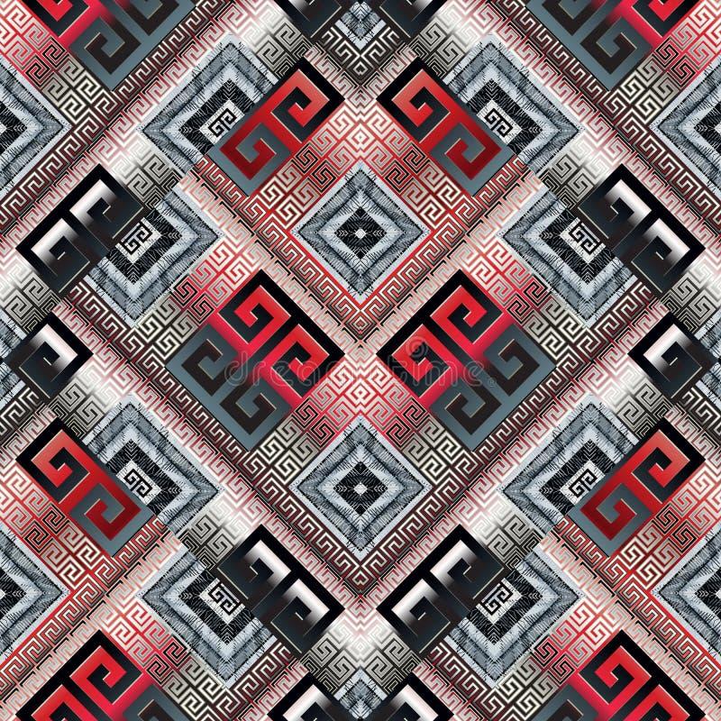 Grieks zeer belangrijk meander modern vector naadloos patroon Geometrische abst stock illustratie