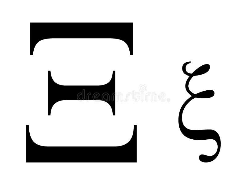 Griekse alfabetbrief Xi royalty-vrije illustratie