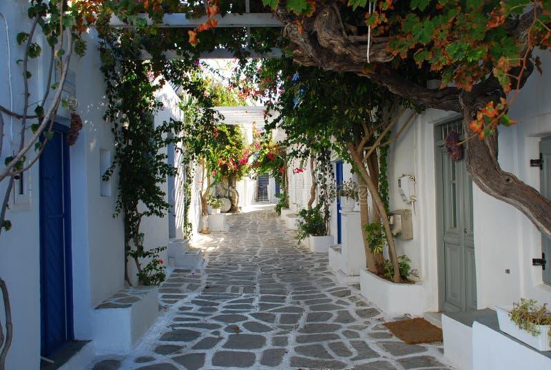 Griekse binnenplaats, Eiland Paros royalty-vrije stock fotografie