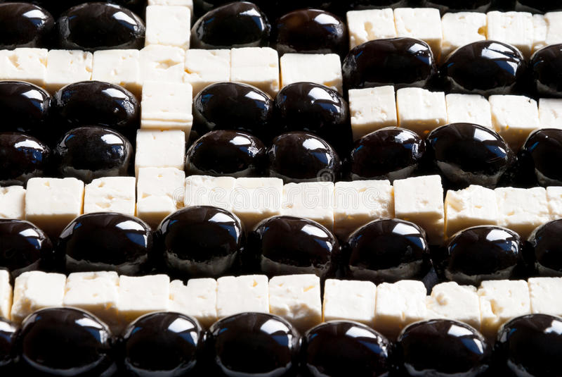 Griekse die vlag van voedsel wordt gemaakt stock foto