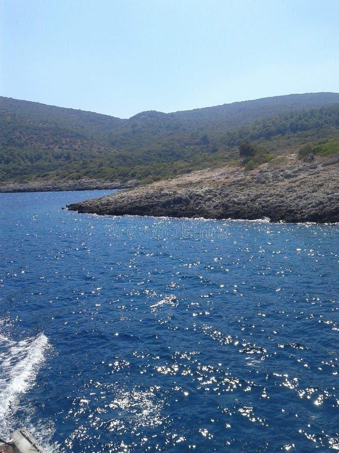 Griekse eilanden op Egeïsche overzees stock afbeeldingen