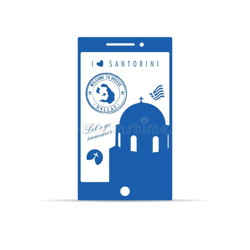 Griekse eilandsantorini op mobiele telefoonillustratie in blauw royalty-vrije illustratie