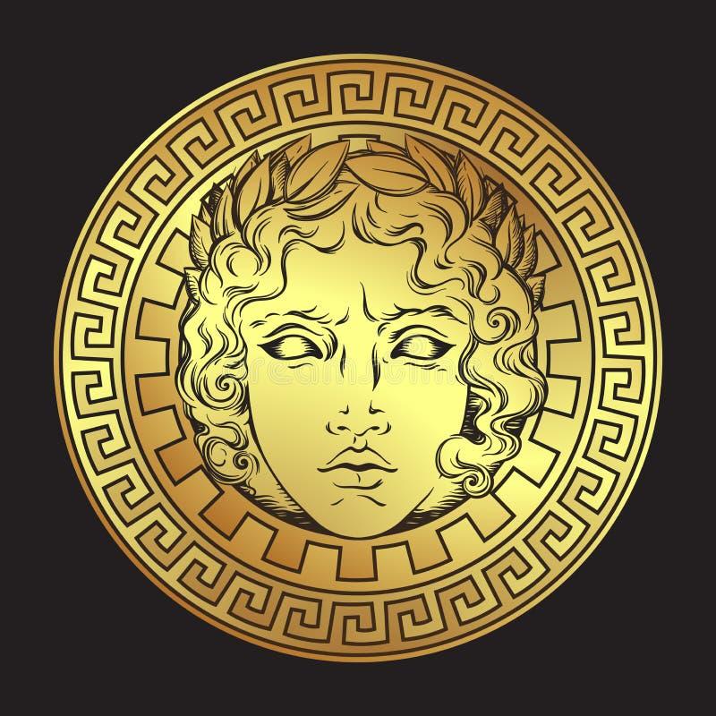 Griekse en roman god Apollo Hand getrokken antiek stijlembleem of de kunst vectorillustratie van het drukontwerp vector illustratie