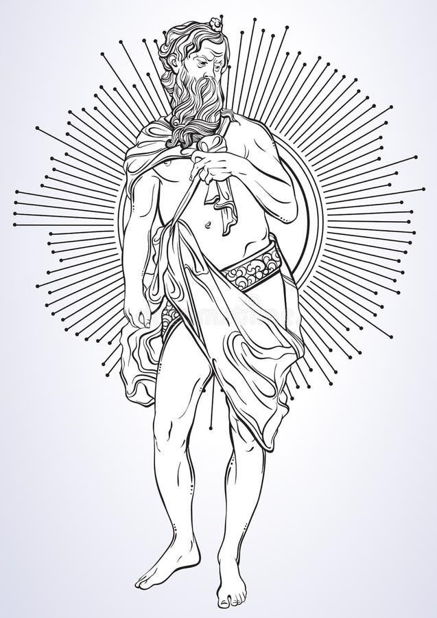 Griekse God, de mythologische held van oud Griekenland Hand-drawn mooi vector geïsoleerd kunstwerk classicism Mythen en legenden royalty-vrije stock afbeeldingen
