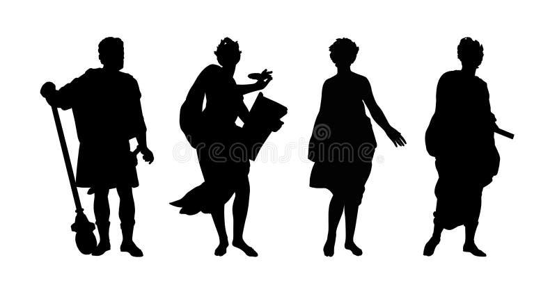Griekse goden en helden geplaatste silhouetten royalty-vrije illustratie