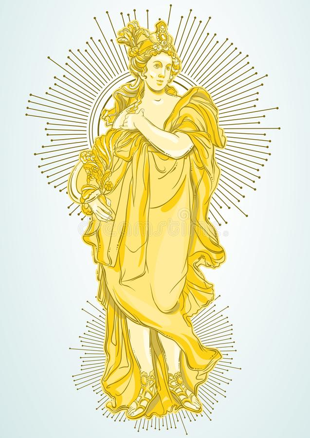 Griekse Godin, de mythologische heldin van oud Griekenland Hand-drawn mooi vector geïsoleerd kunstwerk classicism vector illustratie