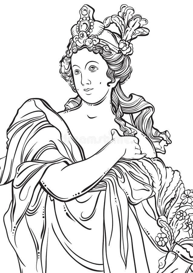Griekse Godin in lijnstijl Groot malplaatje voor het kleuren van boekpagina classicism Detail - Griekse Ionische kolom Mythen en  vector illustratie