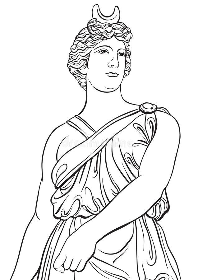 Griekse Godin in lijnstijl Groot malplaatje voor het kleuren van boekpagina classicism Detail - Griekse Ionische kolom Mythen en  stock illustratie