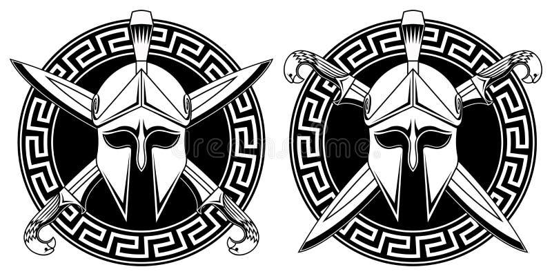 Griekse helm met gekruiste zwaarden stock illustratie