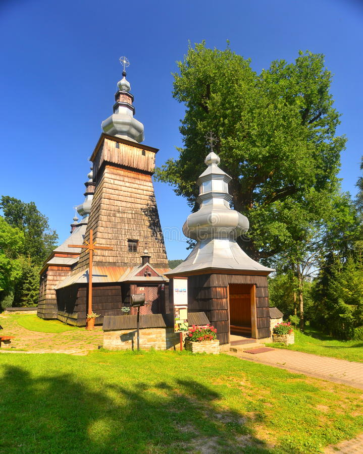 Griekse katholieke houten kerk stock foto