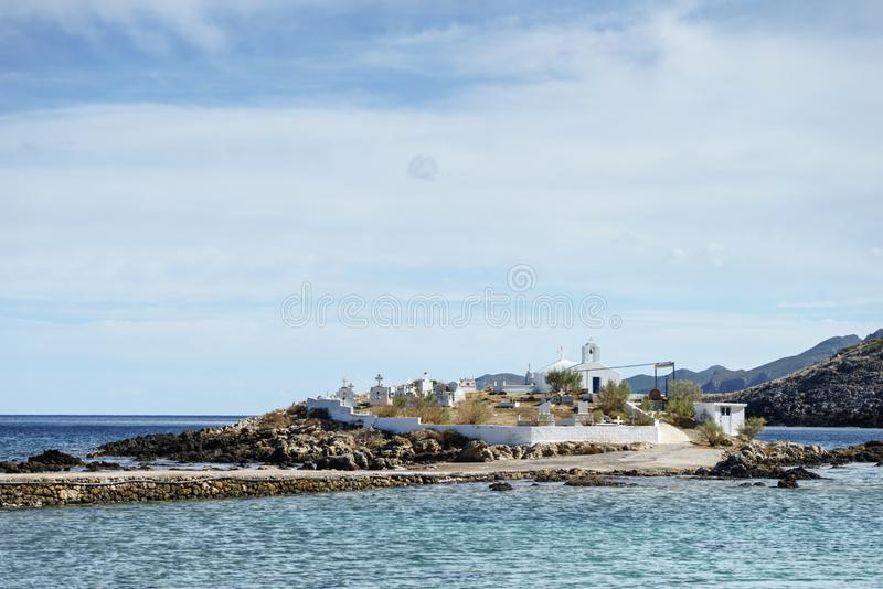 Griekse kustlijn, Agios Fokas-dorp stock afbeelding