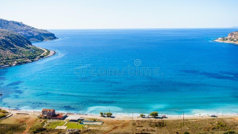 Griekse kustlijn op de Peloponnesus, Mani Peninsula royalty-vrije stock afbeelding