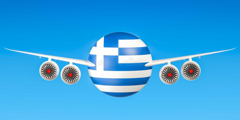 Griekse luchtvaartlijnen en het vliegen ` s concept het 3d teruggeven vector illustratie