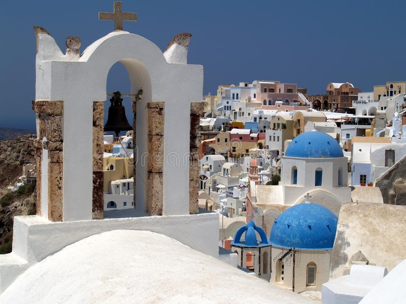 Griekse Orthodoxe Kerken, Oia, Santorini stock afbeelding