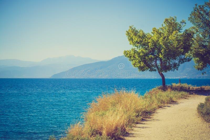 Griekse overzeese kustlijn, zeegezicht royalty-vrije stock foto