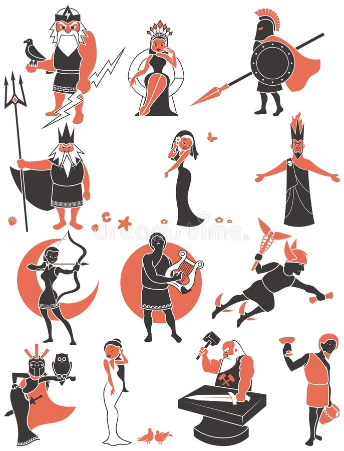 Griekse/Roman Goden royalty-vrije illustratie