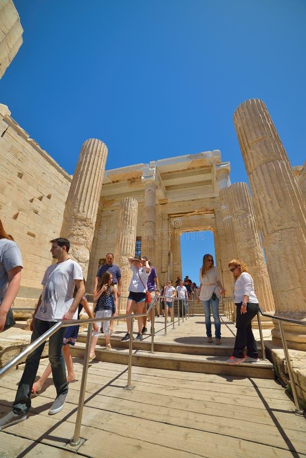Griekse ruïnes van Parthenon op de Akropolis in Athene, Griekenland royalty-vrije stock foto's