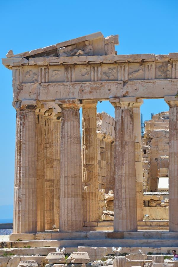 Griekse ruïnes van Parthenon op de Akropolis in Athene, Griekenland stock foto's