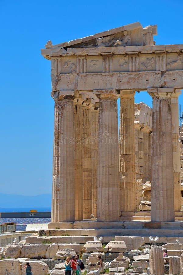 Griekse ruïnes van Parthenon op de Akropolis in Athene, Griekenland stock fotografie