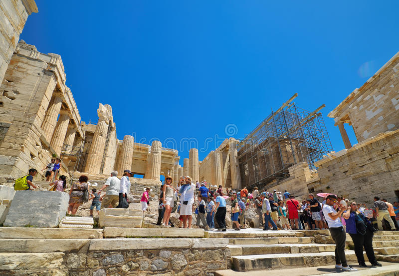 Griekse ruïnes van Parthenon op de Akropolis in Athene, Griekenland royalty-vrije stock fotografie