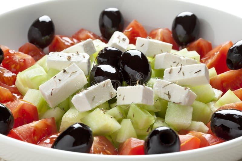 Griekse salade met feta kaas stock foto's