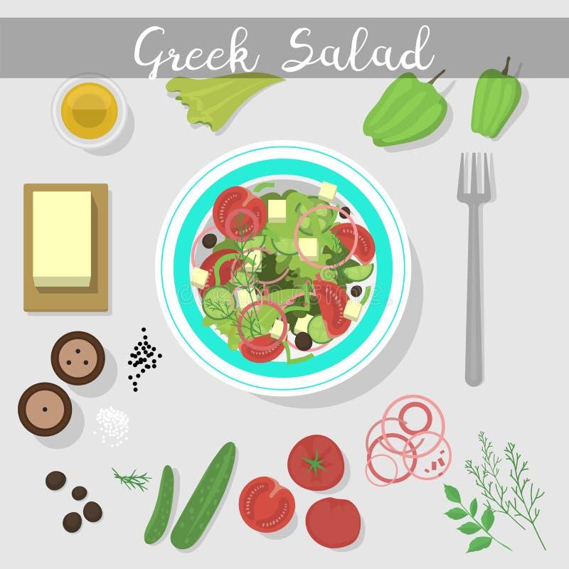 Griekse salade met van de het ingrediënten vegetarische olijf van het verse groentenvoedsel het voorgerechtvector van feta gezond vector illustratie