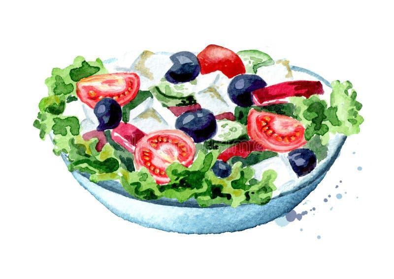 Griekse salade met verse groenten en feta-kaas Waterverfhand getrokken die illustratie, op witte achtergrond wordt geïsoleerd stock illustratie
