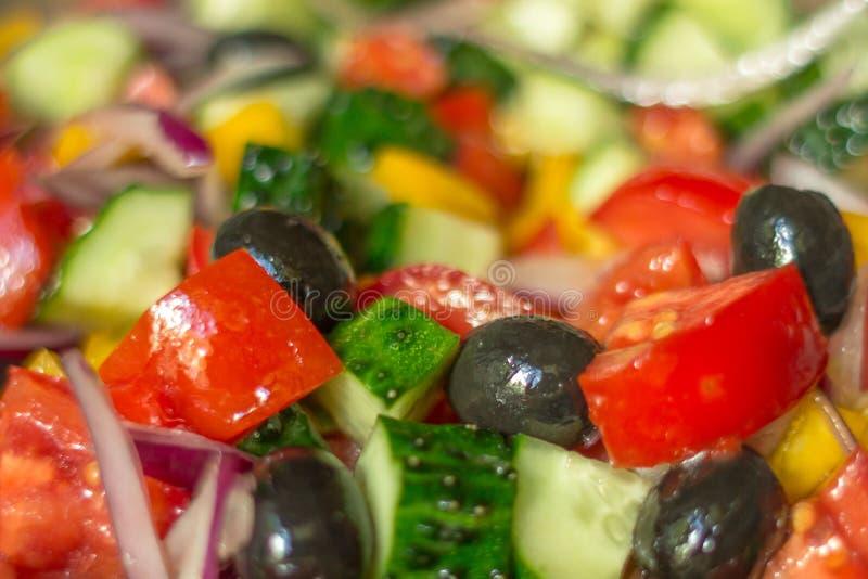 Griekse saladeclose-up stock fotografie