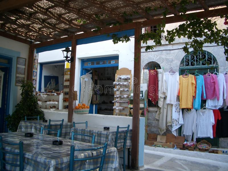 Griekse taverna Karpathos royalty-vrije stock afbeelding