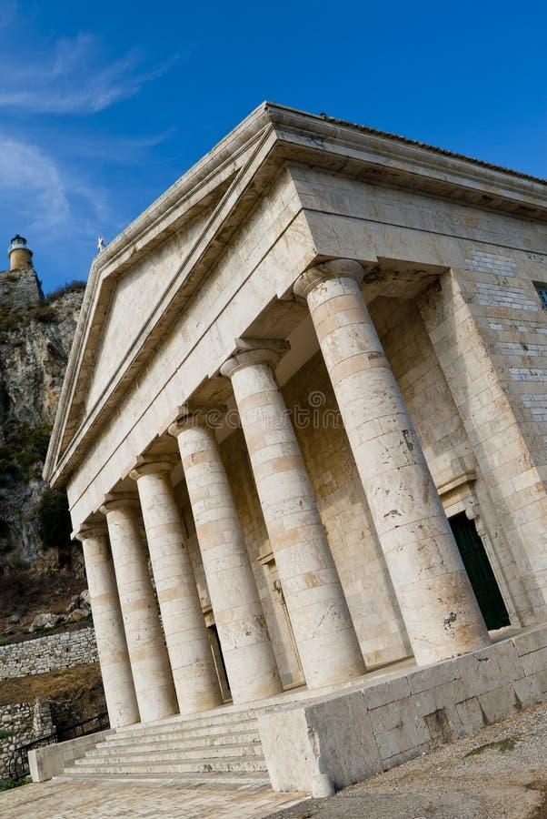 Griekse tempel in Kerkyra royalty-vrije stock fotografie