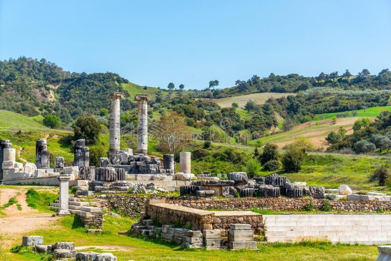 Griekse Tempel van Artemis dichtbij Ephesus en Sardis royalty-vrije stock afbeeldingen