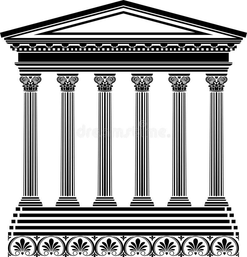 Griekse tempelstencil stock illustratie