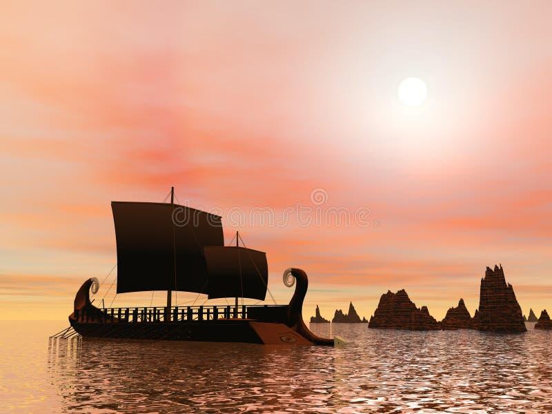 Griekse trireme 3D boot - geef terug royalty-vrije illustratie