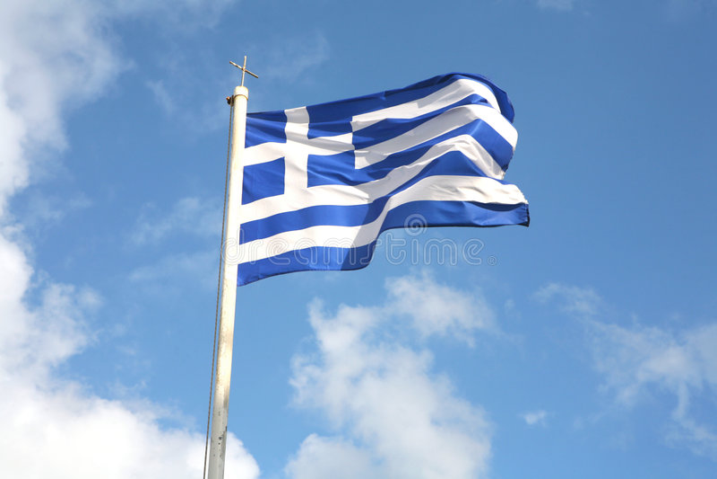 Griekse vlag stock afbeelding