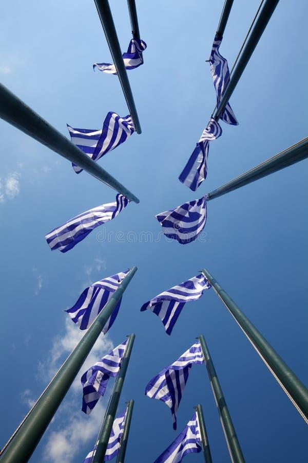 Griekse vlaggen royalty-vrije stock foto's