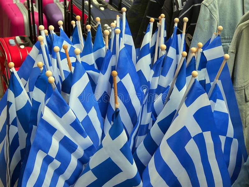 Griekse Vlaggen, Athene royalty-vrije stock foto's