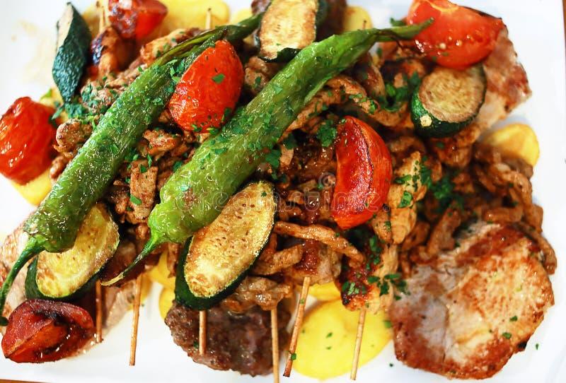 Griekse vleesmengeling stock afbeeldingen
