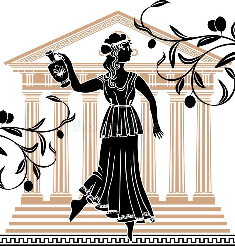 Griekse vrouw met amfora stock illustratie