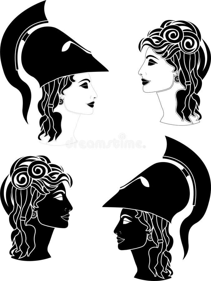 Griekse vrouwenprofielen stock illustratie