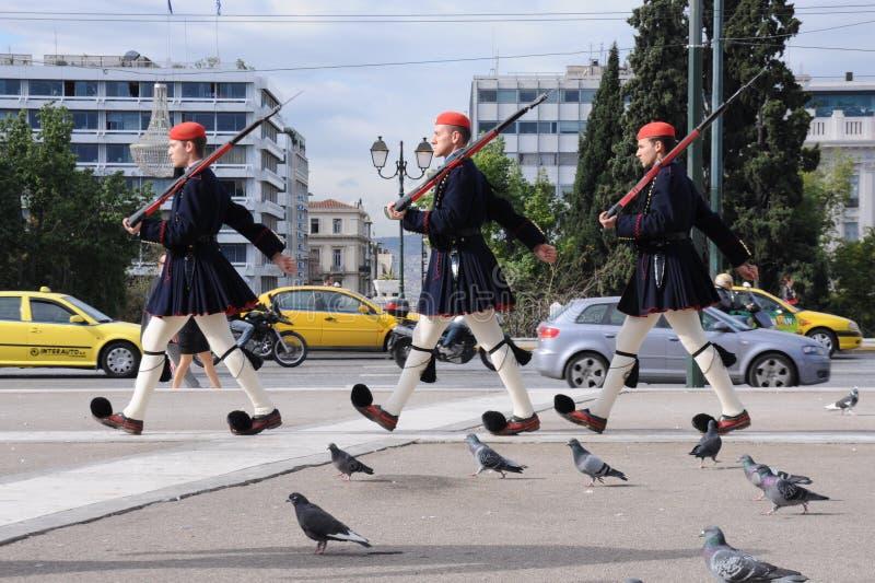Griekse wachten stock afbeeldingen