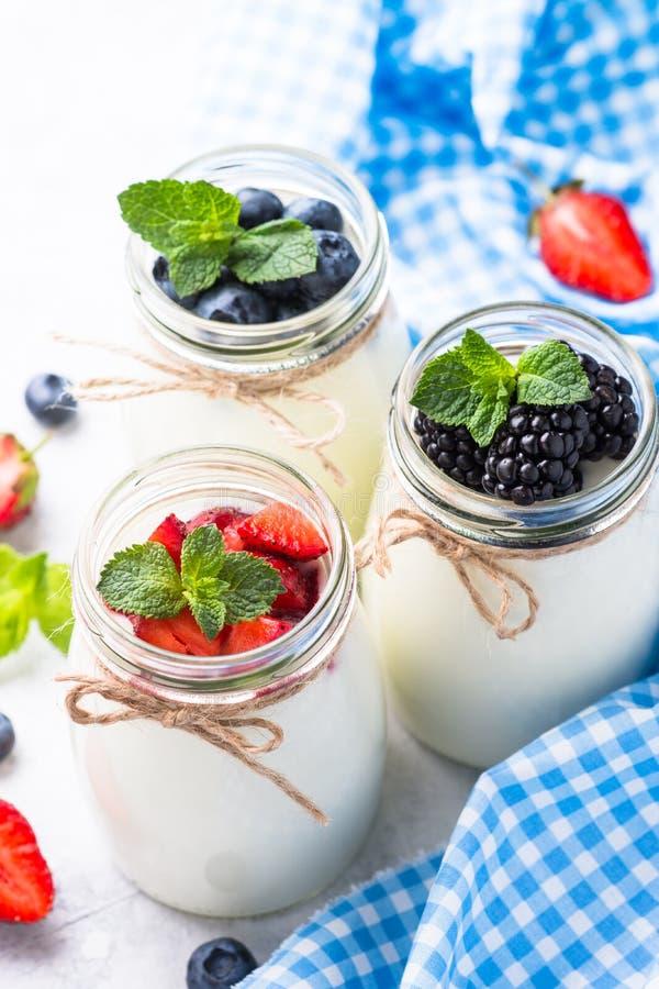 Griekse yoghurt met bessen royalty-vrije stock afbeelding