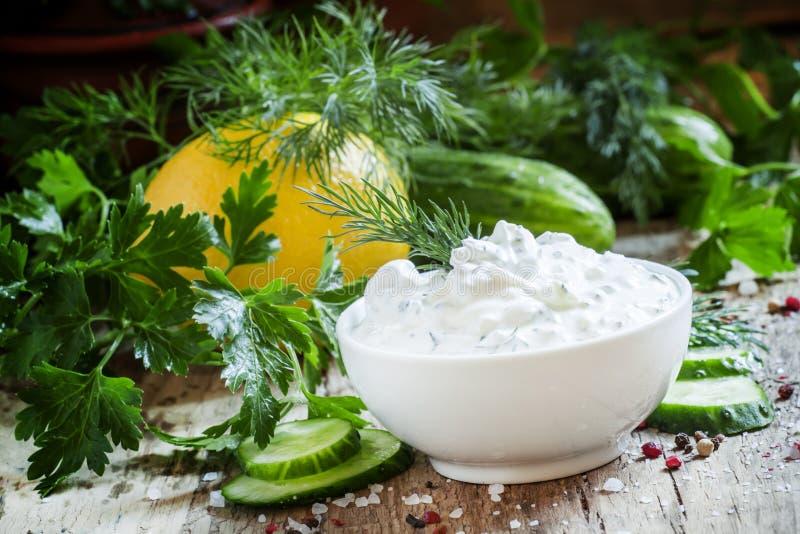 Griekse yoghurtsaus, komkommer en kruiden, selectieve nadruk stock afbeelding