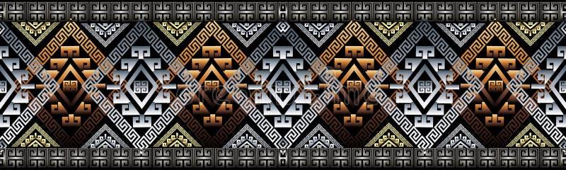 Griekse zeer belangrijke 3d grens Meander naadloos patroon Geometrische vector royalty-vrije illustratie