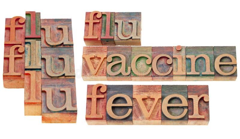 Griep, vaccin en koorts royalty-vrije stock foto's